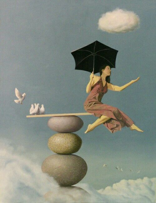 Surreal paintings of woman in black dress with umbrella