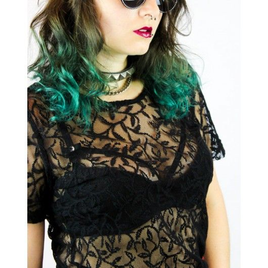 Floral Vintage Lace Shirt available at the shop ♥ #grunge #goth #gothic #vintage #sheer #transparent