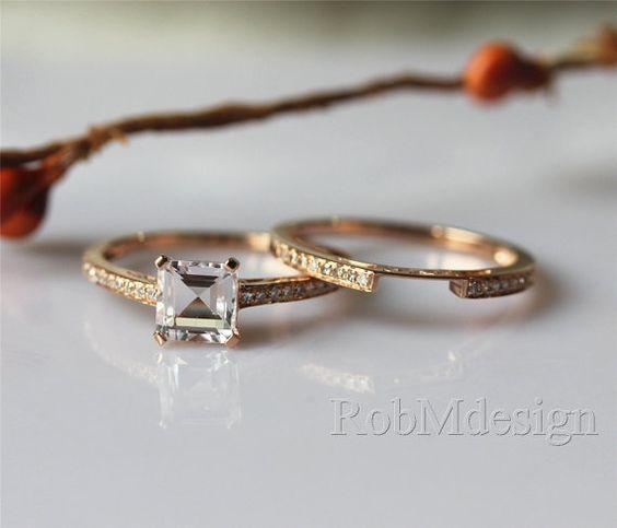 14K Rose gold Morganite Engagement Ring Set 1.35ctw by RobMdesign