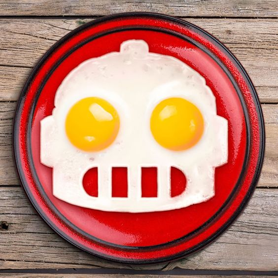 Funny Side Up Robot Egg Mold Shares Breakfast With Our Future Overlords -  #breakfast #future #robot