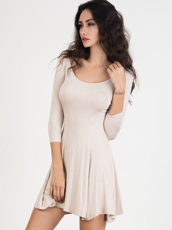 Light Khaki Scoop Neck 3/4 Sleeve Skater Dress