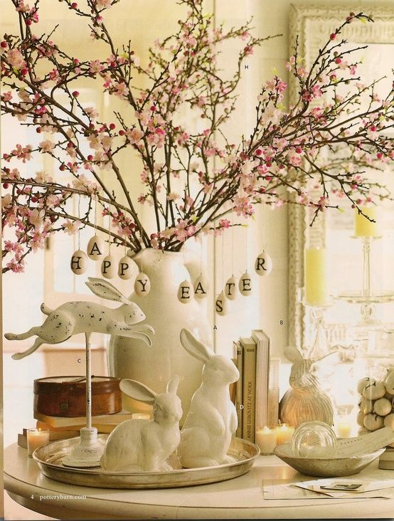 Beautiful Easter table decor- I love cherry blossoms/ I'm looking for rabbits like these:
