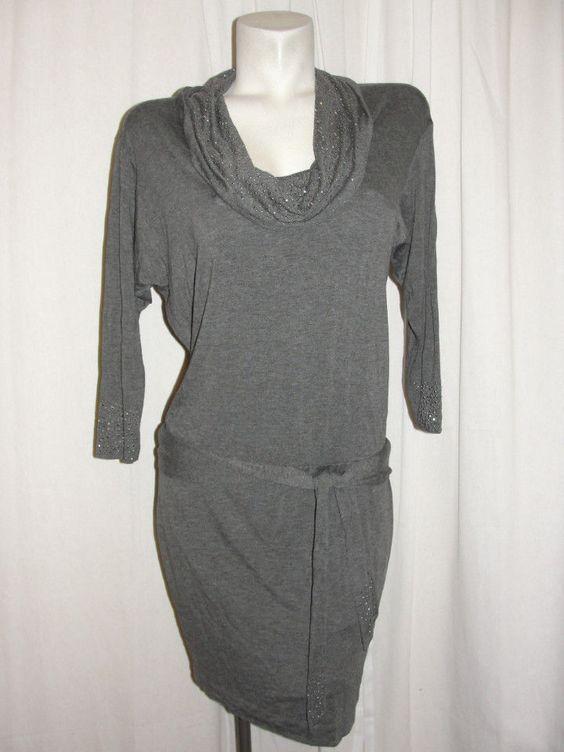 CACHE Gray Embellished Cowl Neck Stretch Rayon Knit 3/4 Slv Sweater Dress Size S…