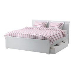 BRUSALI bed frame with 4 storage boxes, Luröy, white Length: 196 cm Headboard height: 93 cm Height: 46 cm