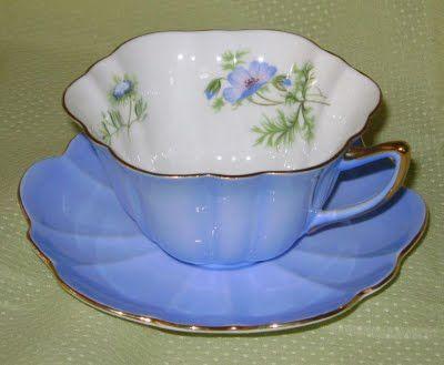Anne Fannie's Green Acres: Blue Monday - Blue Shelley Tea Cups
