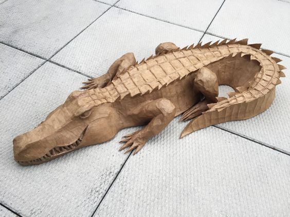 Paper alligators and google on pinterest for Things made out of paper mache