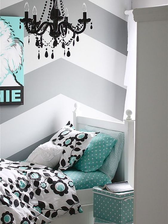 ---LOVE the colors! Color Scheme: gray and turquoise//black and white! --- Chevron Pattern Craze: How to Pull It Off at Home