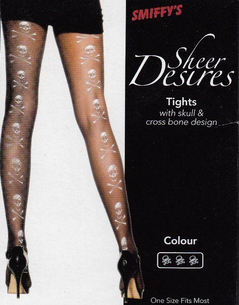 Calze nere con teschi stampati in bianco nel retro della gamba. Collant taglia unica adulto. Per Travestimenti ad Halloween o Festa a Tema Pirati, a Carnevale. Disponibile da C&C Creations Store