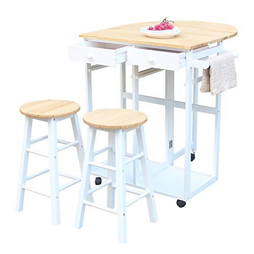 Hobbyn Rolling Kitchen Island With Seating 3pcs Dining Table Set