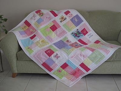 I like this design for Addie's memory quilt made out of some of her ruined yet usable outfits.