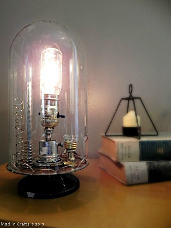 anthro inspired inventor s bell jar lamp jars steam punk and industrial. Black Bedroom Furniture Sets. Home Design Ideas