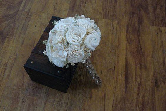 Wedding Bouquet Sola wood Cream Bouquet by TheBloomingCorner