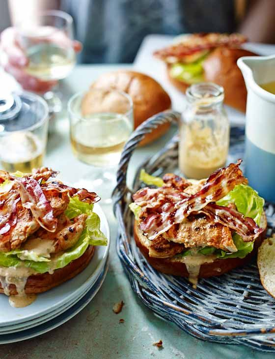 Barbecued chicken in brioche buns with buttermilk Caesar dressing. This summer BBQ recipe is sure to be a crowd-pleaser.