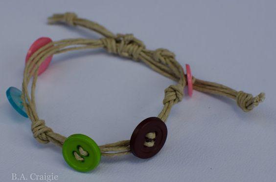 #button #bracelet #handmade #hemp #adjustable #jewelry #etsy #green #blue #pink #maroon