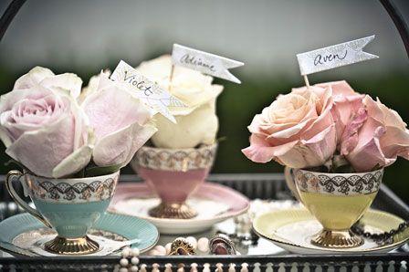 Vintage teacup flower arrangement