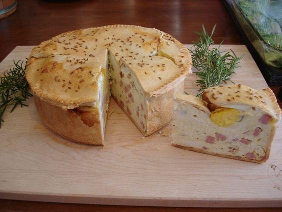 Torta di Pasqua (Easter Tart) | The Italians make a special Easter tart that uses fresh ricotta, lots of eggs, young Mortadella and fresh Marjoram (or Oregano).