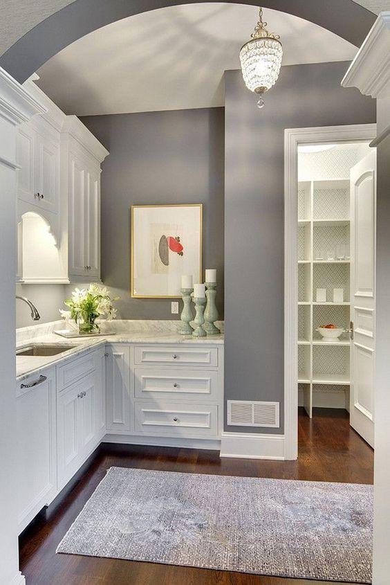 """White cabinets & gray walls - Benjamin Moore """"Dior Gray"""" -  Stonewood Inc"""