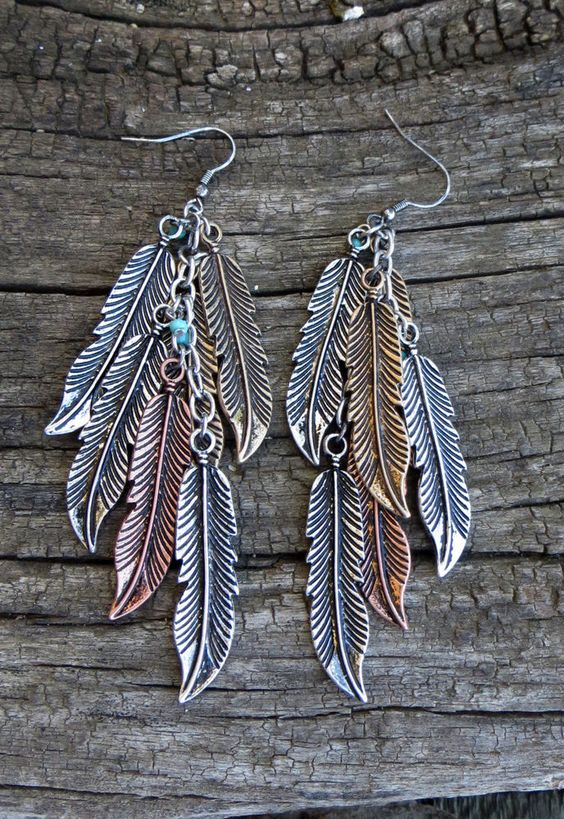 Cowgirl Bling Gypsy BOHO FEATHER EARRINGS Copper Silver Gold tone metal LOVE!! #davinci #earrings