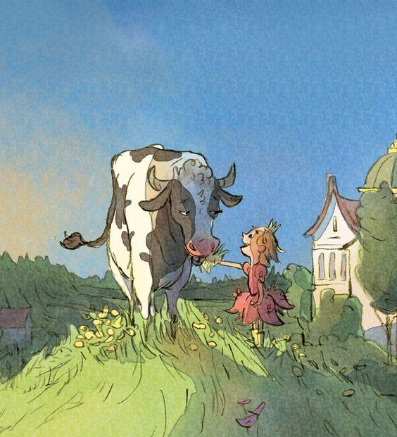 """Illustration by Uwe Heidschötter from the children's book """"Die Prinzessin, die Kuh und der Gartenheini"""""""