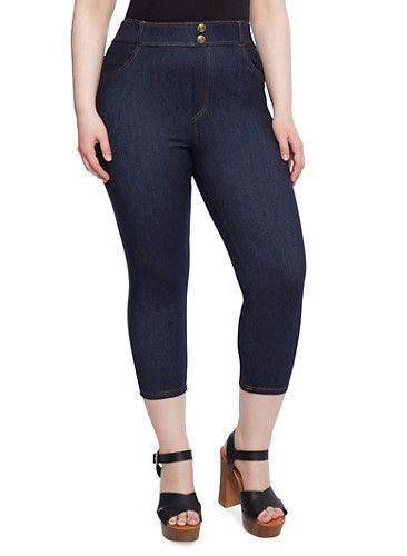 Plus Size Stretch Denim Capri Pants with High Waist | Shopping ...