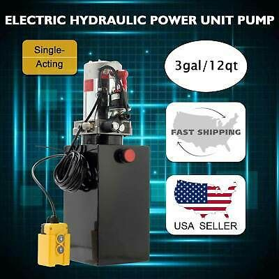 12v Single Acting Hydraulic Pump Dump Trailer 12 Quart Metal Reservoir Ebay In 2020 Hydraulic Pump Dump Trailers Hydraulic