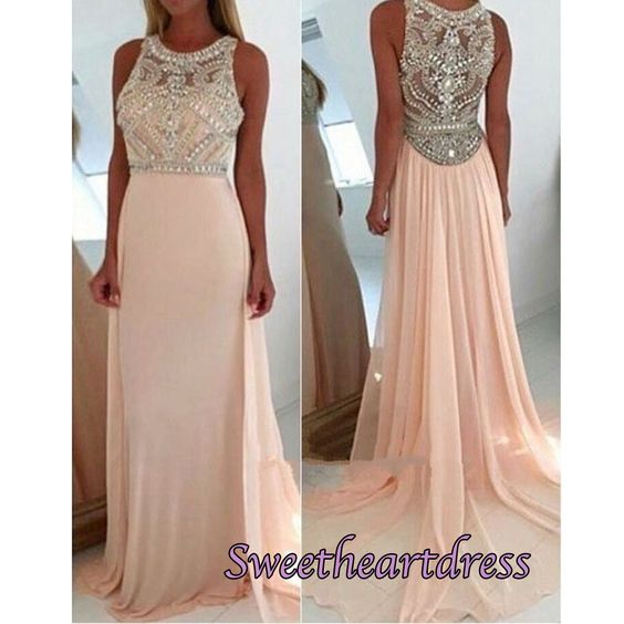 Beaded long prom dresses, homecoming dress, 2016 cute blush pink chiffon prom dress for teens #coniefox #2016prom