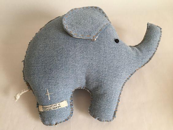 Light indigo denim elephant, Elephant Stuffed Toy, elephant, Kids room decoration, Baby nursery by Sanaya321 on Etsy