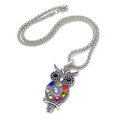 arma cores chapadas colorido coruja colar de zircão liga – BRL R$ 7,73