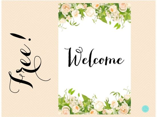 Free Peonies Welcome Sign 11 17 Bridal Shower Welcome Sign