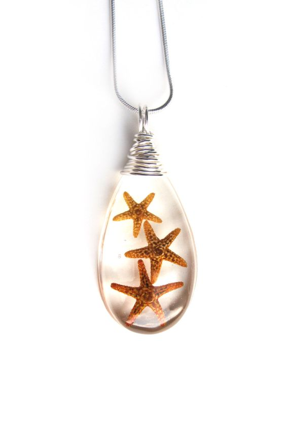 Real Starfish Resin Pendant Necklace - Three starfish in Resin - Wire Wrapped Pendant - Resin Pendant - Beach Jewelry - Teardrop Pendant by ScrappinCop on Etsy https://www.etsy.com/listing/190918132/real-starfish-resin-pendant-necklace