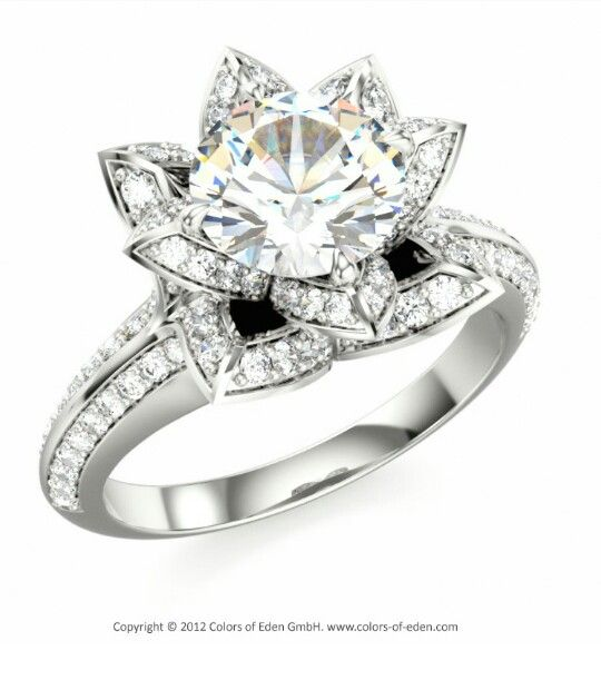 lotus flower engagement ring awesome things pinterest. Black Bedroom Furniture Sets. Home Design Ideas
