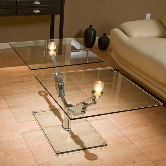 2 Way Motion Glass Rectangular Coffee Table - Living Room at Modern Furniture ($529.98)