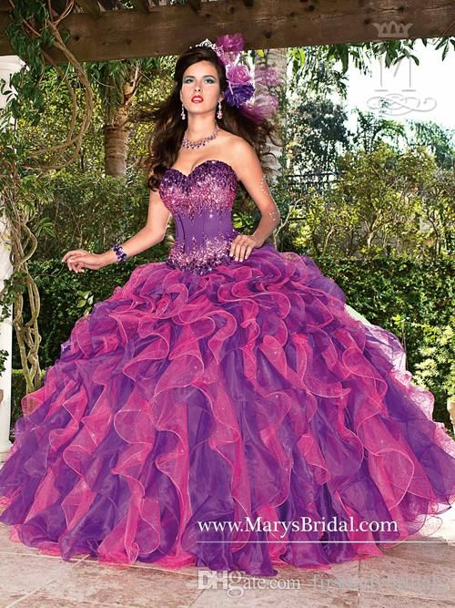 2015 Designers Purple Quinceanera Dresses Ball Gowns Organza Corset Sweetheart Beaded Crystals Back Lace UP Formal Dress For Girls Prom Party