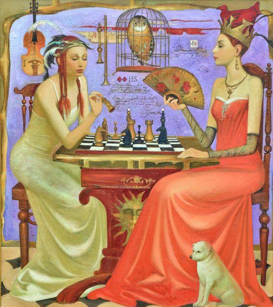 Two Women Sitting by Igor Samsonov:
