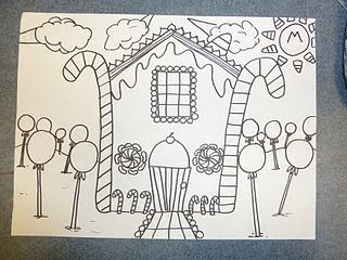 Hansel and gretel 39 s house first grade art ideas for Hansel and gretel house plans