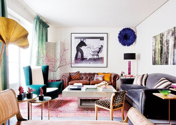 Tour a Fashion Designers Feminine Abode// leopard chair, juju hat, black lamp shade: Eclectic Decor, Fashion Designer, Livingroom, Decorating Ideas, Decor Inspiration, Colorful Living Rooms