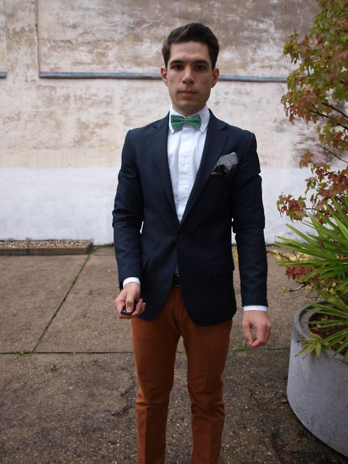 rust colored chino blue sports coat bow tie | Dapper | Pinterest