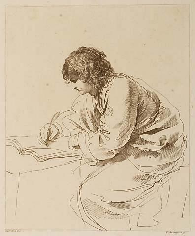 Francesco Bartolozzi, Giovanni Francesco Barbieri Guercino    Man Writing with Feather Quill    etching
