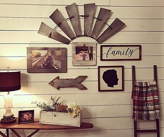 Incorporate a Half Windmill (or Smaller) into a Rustic Wall Collage Wall