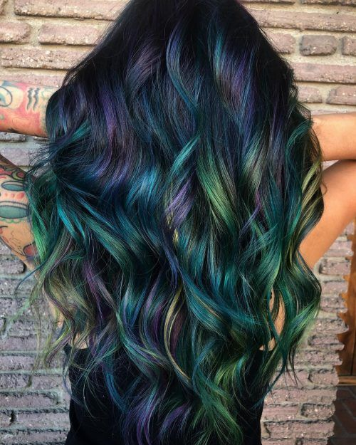 Purple And Green Balayage In 2020 Curly Hair Trends Peacock