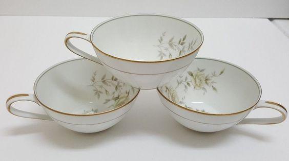 Set of 3 Cups Noritake China INGRID 5904 Roses Gold Trim Japan #Noritake