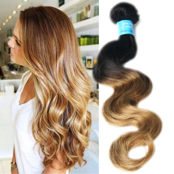 "3Bundles Peruvian Human hair weft 10""-30"" 2 Tone Ombre Body Wave Hair Extension #wigiss #HairExtension"