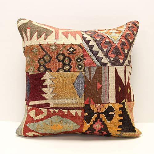 Home Decor 16x16 Handwoven Turkish Kilim Pillow Vintage Kilim Pillow Couch Throw Pillow Patchwork Kilim Cover Decorative Throw Pillow