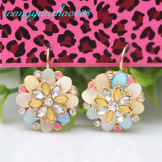 Betsey Johnson Multicolor Shell Crystal Petal Flower Golden Ear Studs Earrings