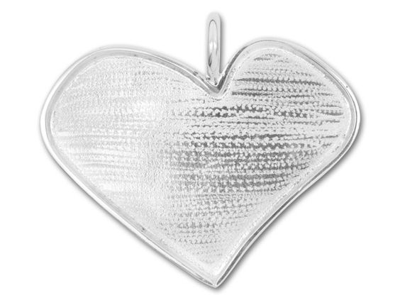 44x51mm Silver Plated Brass Abstract Heart Bezel Pendant