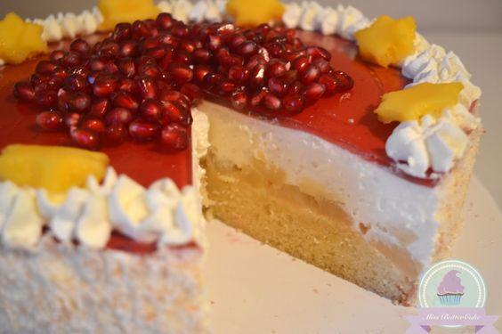 Miss-ButterCake : Exotische Torte mit Ananas, Kokos, Granatapfel und Mango