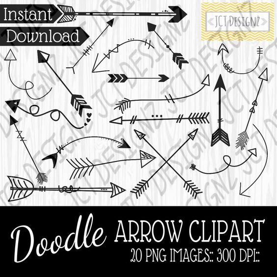 Doodle Arrow Clipart, png images, 300 dpi, doodle, arrows, tribal arrows, cute arrows, arrow clipart, arrow png, doodle png, tribal png by JCTDesignz on Etsy