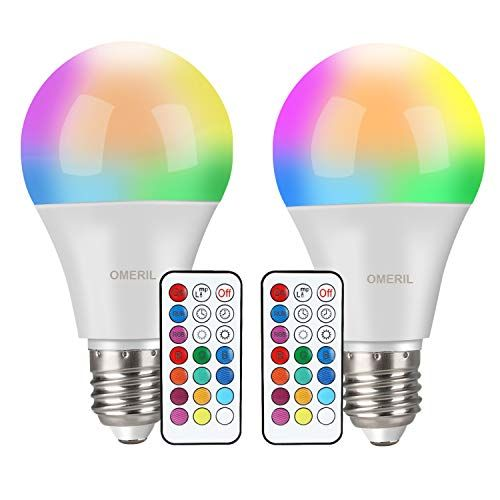 Bombilla Led Colores 2 Pack Omeril Rgbw Bombilla Led E27 10w Con Control Remoto Funcion De Temporizacion Y Memoria 12 Rgb Colo In 2020 Lava Lamp Novelty Lamp Lamp