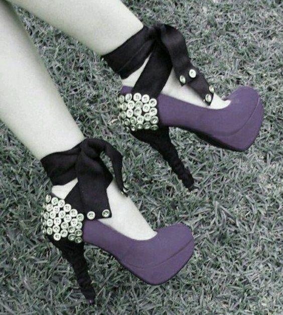 Pretty purple button heels