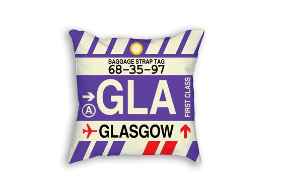GLA Glasgow Airport Code Baggage Tag Pillow